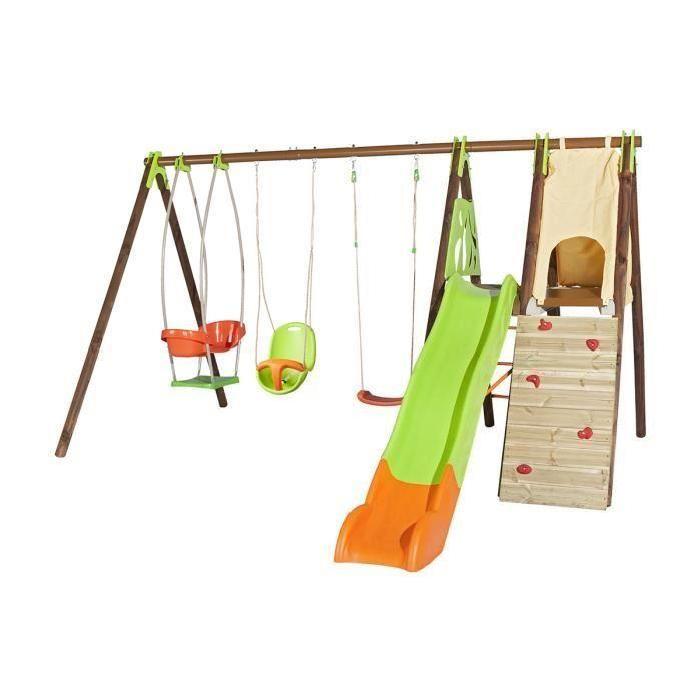 Portique Kempro en bois et métal, 2,30 m - Trigano  Portique pour 8 enfants, 1 balançoire, 1 siège bébé, 1 nacelle, mur d'escalade, 1 cabane en tissu, 2 plate-formes et 1 toboggan.Produit conçu dans le respect des no…Voir la présentation