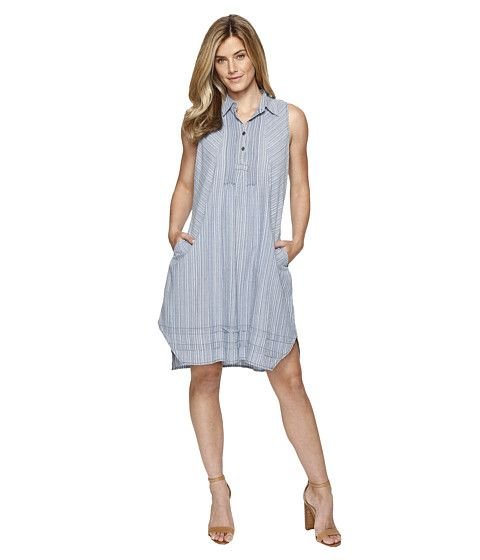 Dylan by True Grit Stripe Shirt Pintuck Dress with Pockets