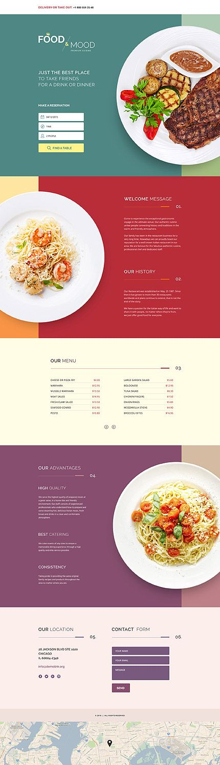 Template 58407 - Food & Landing Page Template