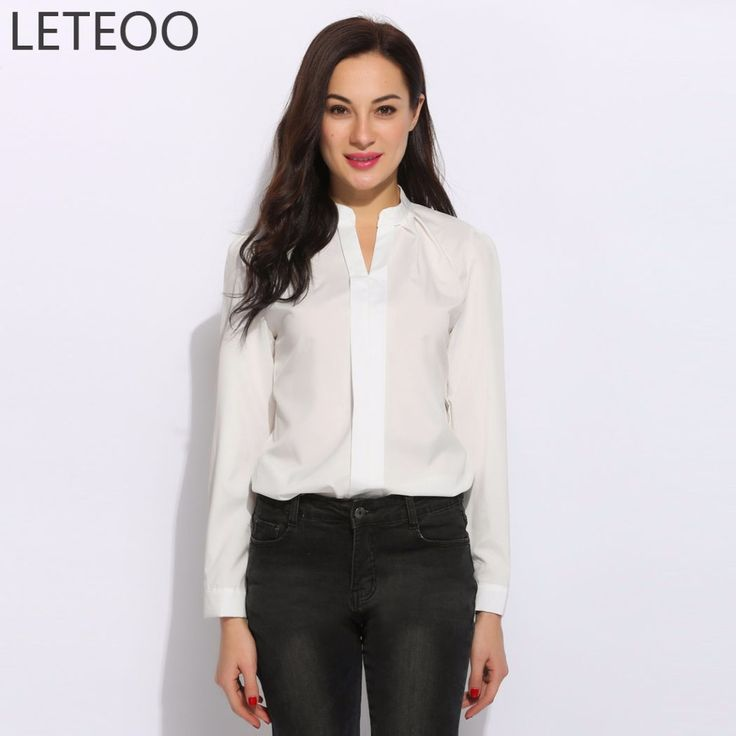 >> Click to Buy << LETEOO Sexy Office White Top Women Fashion 2017 Long Sleeve V Neck Slim Formal Blouse Shirt Female Business Work Wear Costume L2 #Affiliate
