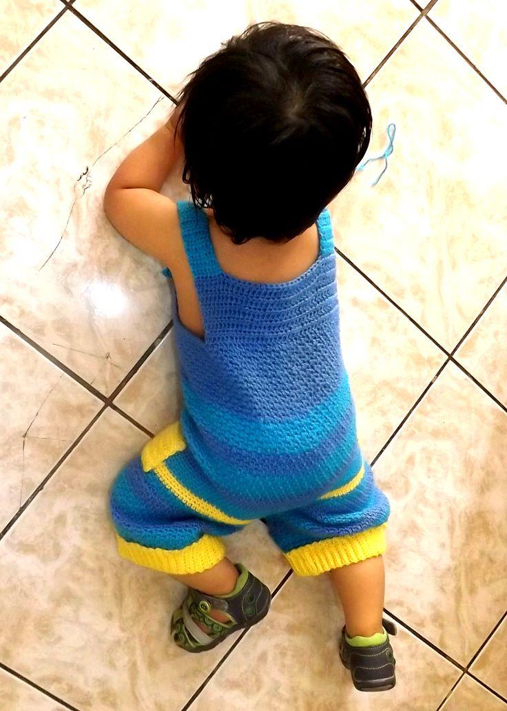 Jardinera niño a crochet. Easy crochet.