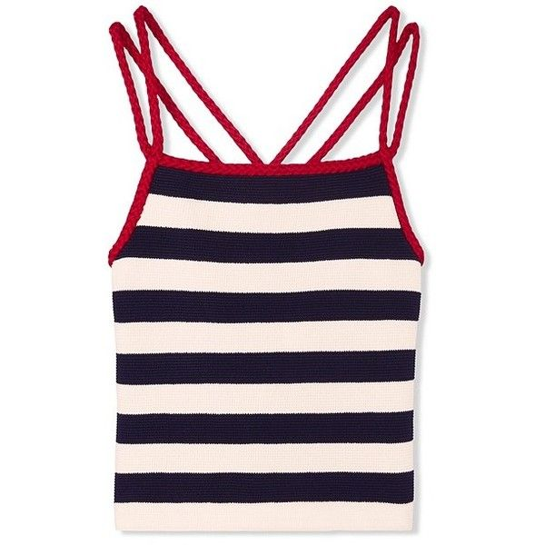 Tory Burch Lana Top ($275) ❤ liked on Polyvore featuring tops, striped cami, stripe top, tory burch tops, nautical striped top and form fitting tops