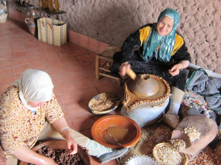 Argan oil co-op. The women pick the nuts, roast them, press the oil and sell it. Proceeds from the purchase helps the women of their community. https://www.facebook.com/OneEarthwithm
