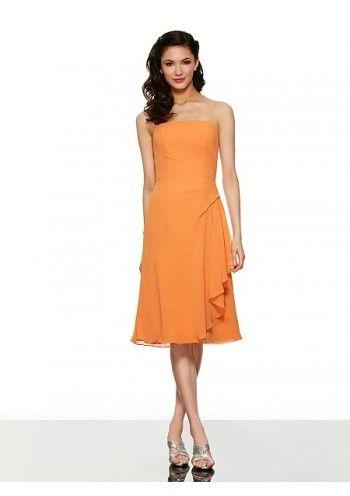 Sheath Column Strapless Knee Length Chiffon Orange Wedding Guest/Bridesmaid Dress