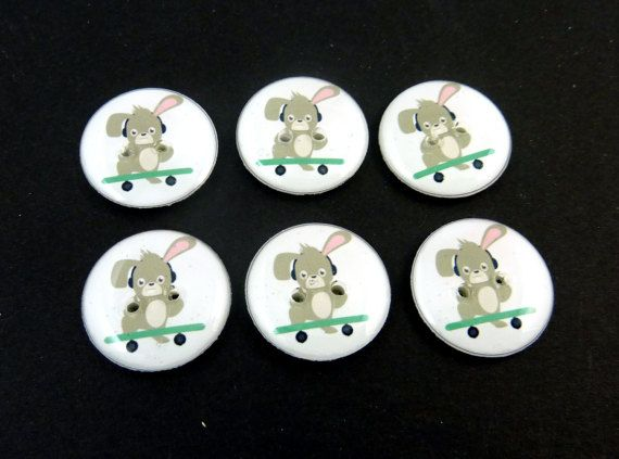 6  Rabbit or Bunny  on Skate Board Buttons.  3/4 by buttonsbyrobin
