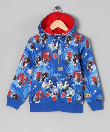 Sonic The Hedgehog Blue Sonic The Hedgehog Zip Up Hoodie