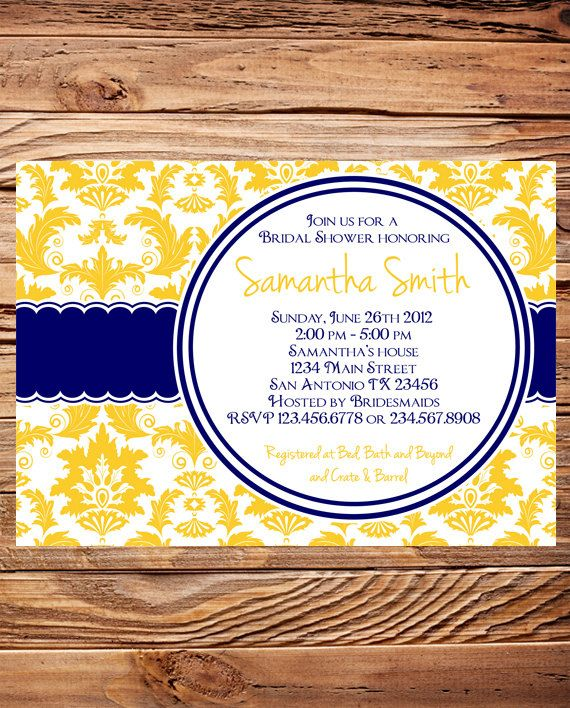 Bridal Shower Invitation, Damask Bridal or Wedding shower Invite, Baby Shower, Navy Yellow Damask Bridal Shower Invitation. $18.00, via Etsy.