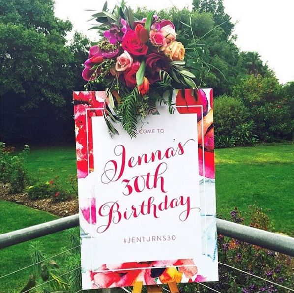 We designed this custom sign to match the rest of Jenna's stationery. The wonderful floral styling by Steph (from The Eventurer) brings out the best of this gorgeous floral pattern! www.thepaperempire.com.au