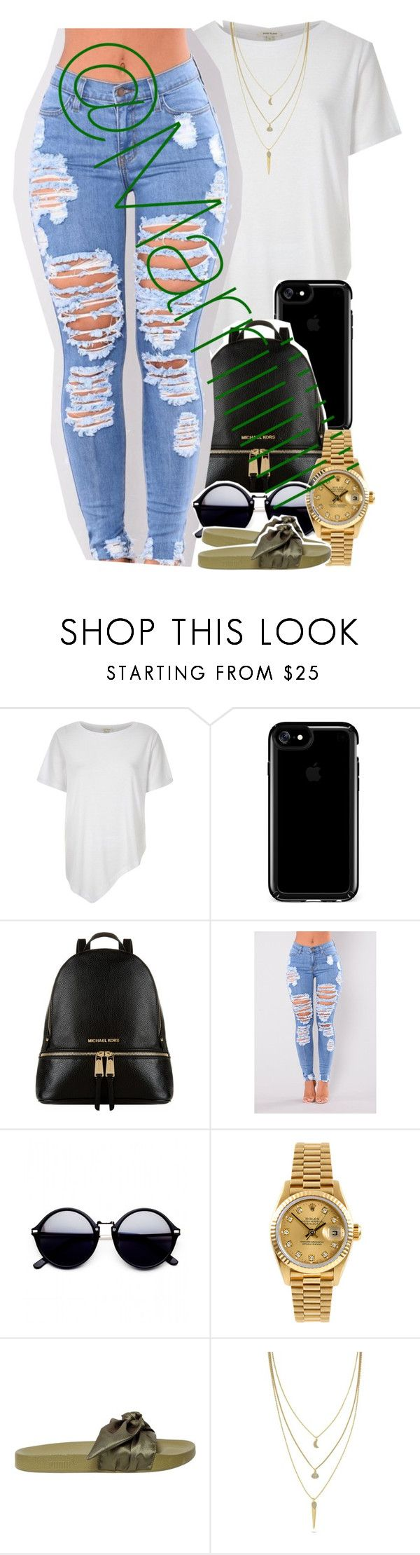 """Getting ready for these cute school outfits"" by marriiiiiiiii ❤ liked on Polyvore featuring River Island, Speck, Michael Kors, Rolex, Puma and Cole Haan"