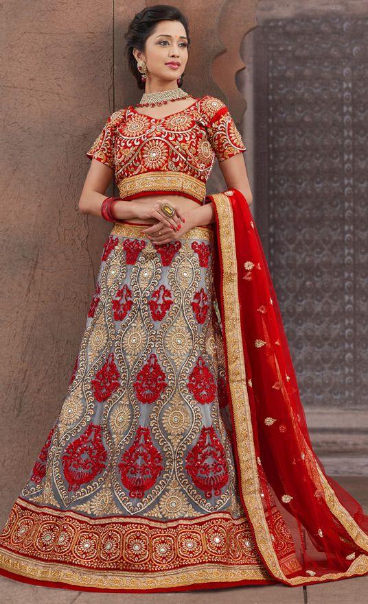 USD 156.68 Red Net Wedding Lehenga Choli 43646