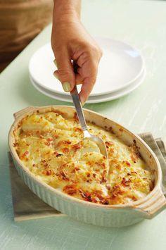 Πατάτες au gratin με κρεμμύδι και 3 τυριά