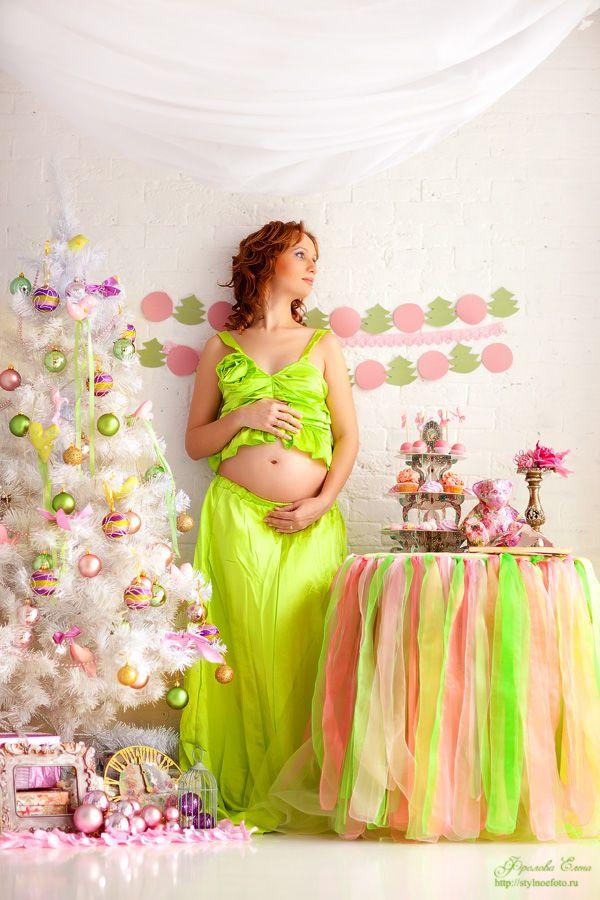 """Новогодний декорированный проект """"Радужный новый год"""". Очаровательная, нежная фотосессия беременной."""