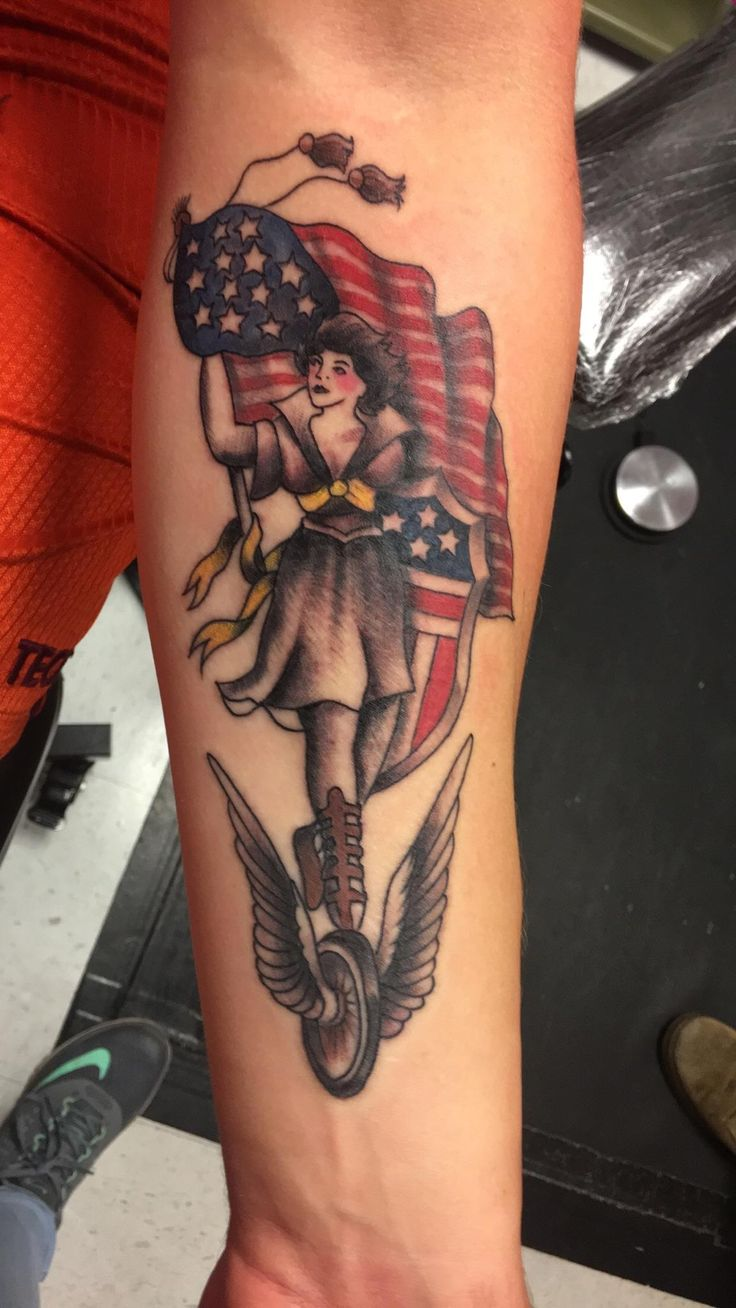 A patriotic pinup. Tattoo work done by Dan at Asylum Tattoos and Body Piercings in Roanoke Virginia