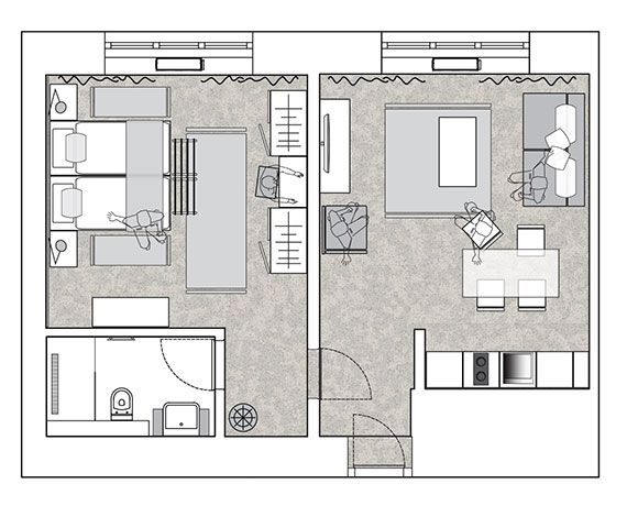 Urban Hotel Ljubljana Center Deluxe Apartment Hotel Suite Floor Plan Hotel Suite Plan House Floor Plans