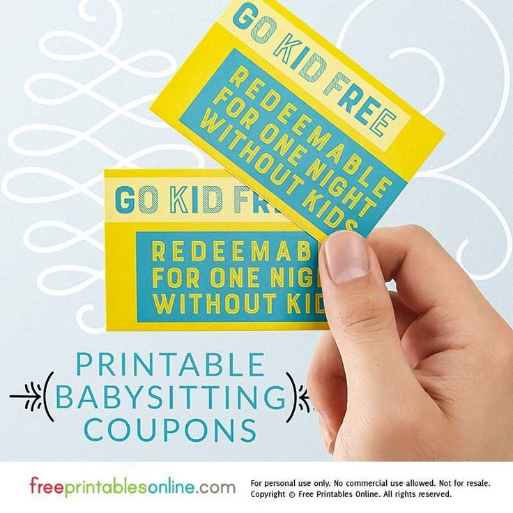 Every parent needs a night off from time to time, so why not gift your favorite mom and/or dad with a go kid free babysitting coupon?
