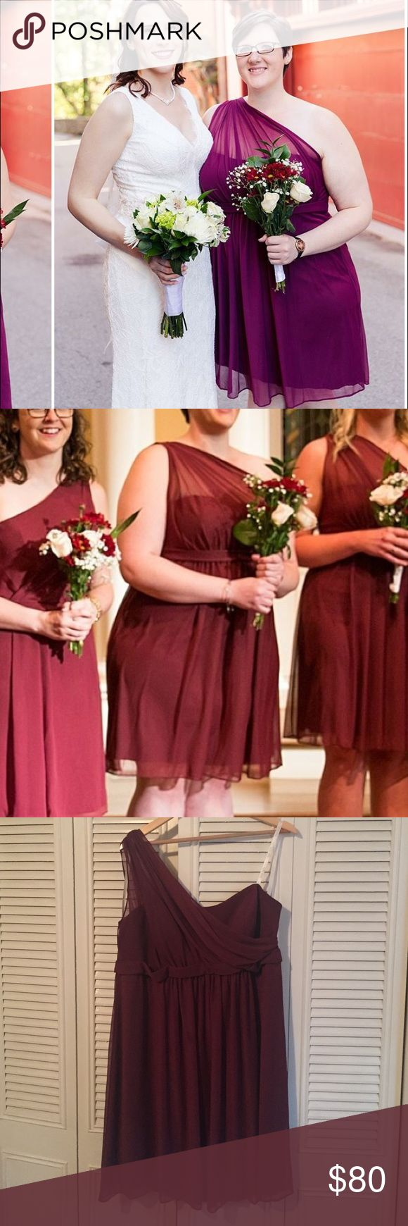 Davids Bridal Dress Plus Size Color is Wine (burgundy) and is often back-order because it is online only! One shoulder with sheer cross-chest strap. Flowy on the bottom. No alterations and worn about 5 hours. Has been hanging with plastic cover since. Size 20. David's Bridal Dresses Wedding
