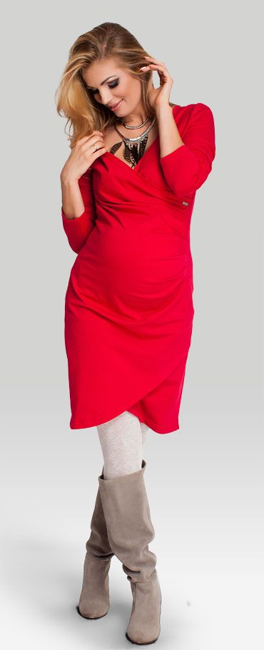 Одежда для беременных, Tulip red платье из хлопкового трикотажа в декольте…