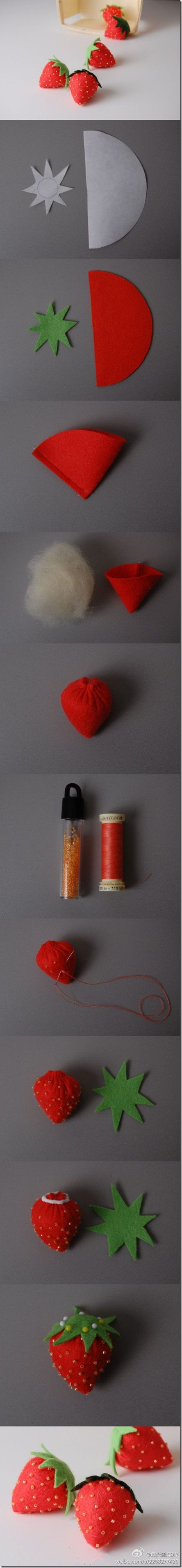 diy cute felt strawberry
