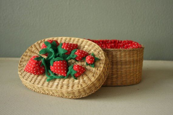 Vintage Wicker Strawberry Sewing Basket.