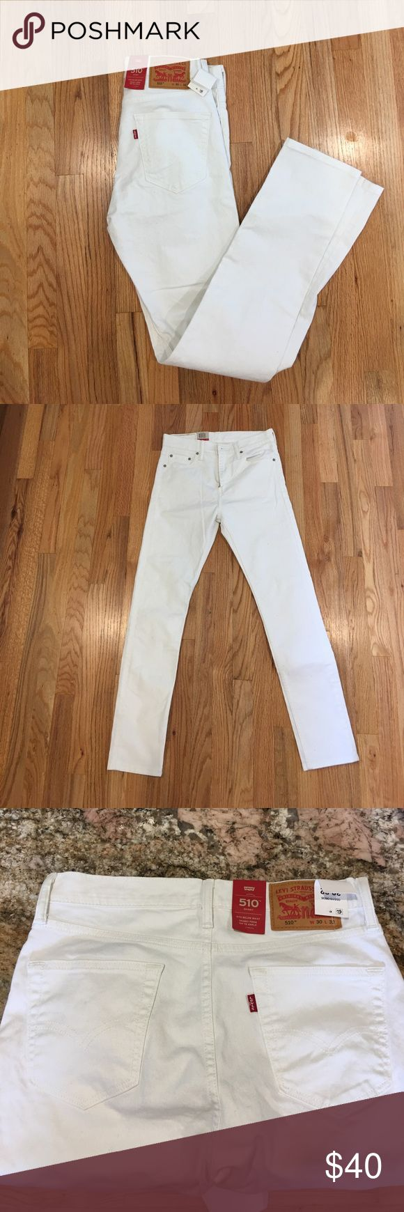 All white levi 510 skinny jeans in 30w 32L All white 510 levi skinny jeans in 30w 32L brand new with tags never worn. Levi's Jeans Skinny