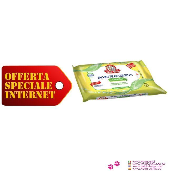 Salviette Detergenti per Cani profumo Citronella - Confezione di 50 salviette detergenti per cuccioli e per cani adulti (ed anche per gatti) alla Citronella: detergono e rendono lucente il manto