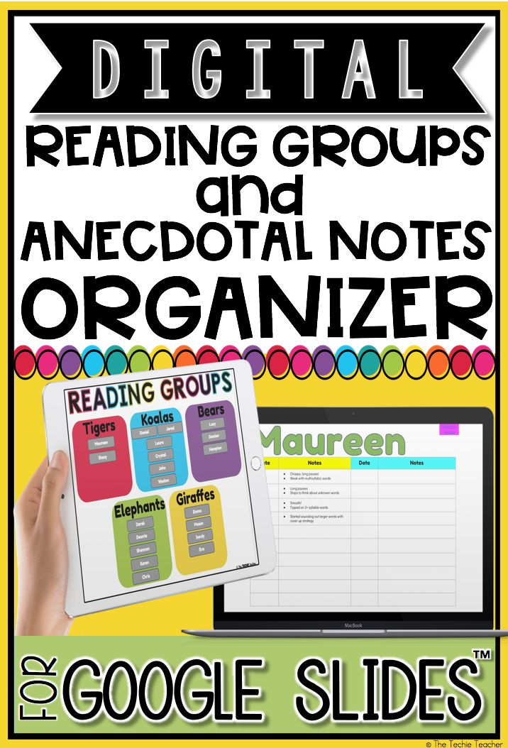 This digital anecdotal notes and reading groups organizer is an easy to use template for any reading teacher who manages different guided reading groups. Using this product in Google Drive™️ and share & collaborate with your Reading Specialist, Interventionists, Special Education Teachers, Gifted and Talented Teachers, and Administration. OR, just use it for your own records and note taking!