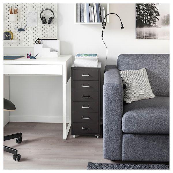 Helmer Caisson Tiroirs A Roulettes Noir 28x69cm Magasinez Ici Ikea Drawer Unit Black Office Furniture Drawers