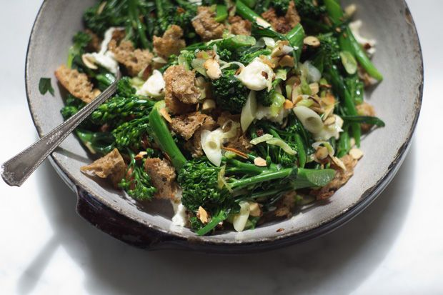 Broccolini salad. Broccolini, big shards of homemade croutons, creamy pockets of burrata, and toasted almond slices.