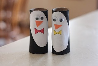 "These penguin TP roll puppets look easy and fun to make with kids.  Our boys will love them!  We will make them later this month as one of our recycled arts and crafts projects!  Love her creativity!!!  I just love ""I can teach my child!"""