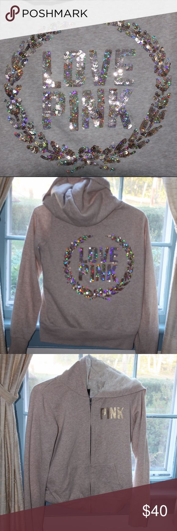 Rare vs pink bling fur zip up hoodie Rare vs pink cream, white and gold bling fur zip up hoodie  size small in perfect condition PINK Victoria's Secret Tops Sweatshirts & Hoodies