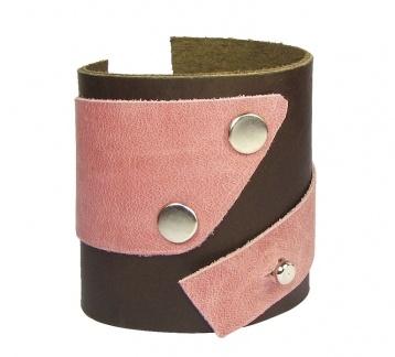 Pembe Detaylı Hakiki Deri Bileklik / Leather Cuff