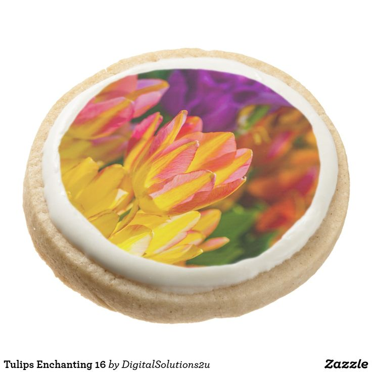 Tulips Enchanting 16 Round Shortbread Cookie