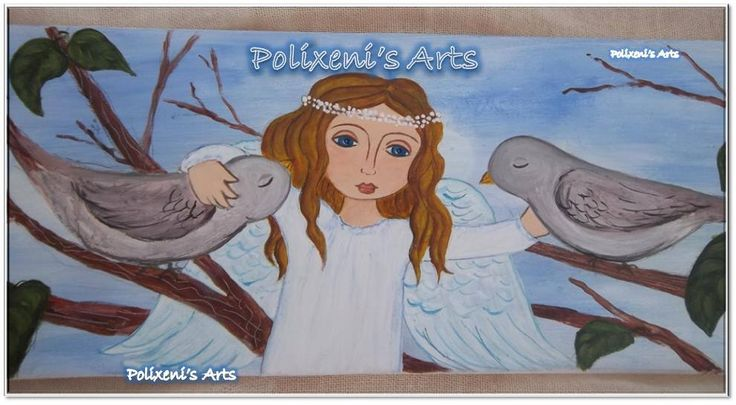 """Polixeni R  """"My little Angel"""" Painted on wood 70cm x 25cm"""