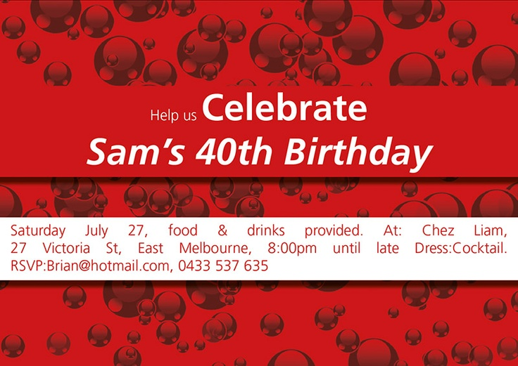 Red and White Bubbles Party invitations in your team colours