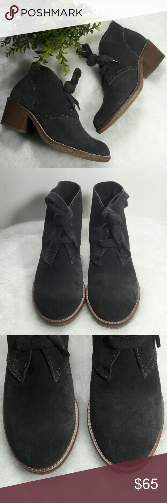 """/Dolce Vita/ Goodwyn Gray Suede Lace Up Booties So stylish and on trend! Dolce Vita Gray Suede Hush Puppy Style Lace Up Ankle Boots Sz 7 runs TTS. 2.25"""" wood heel with rubber soles. EUC minor signs of being worn. 177145Sa / Not in original box/ All Offers Welcomed / NO TRADES / Smoke and pet free home Dolce Vita Shoes Ankle Boots & Booties"""