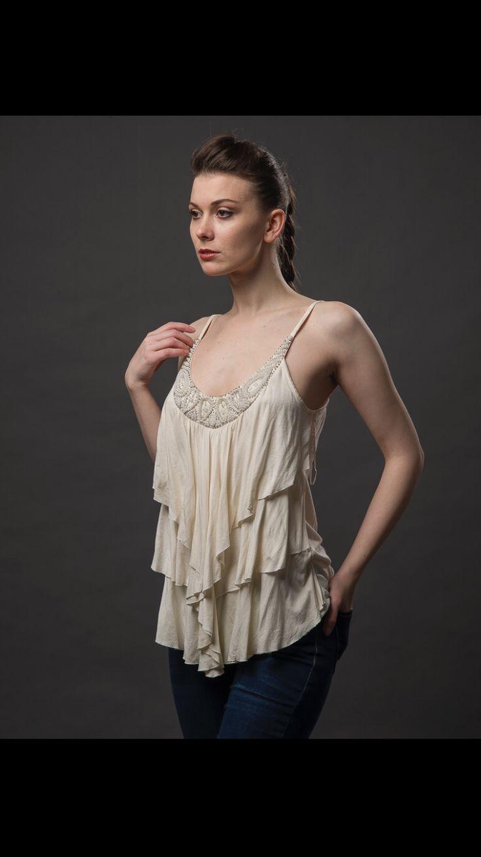 creme layered beaded blouse