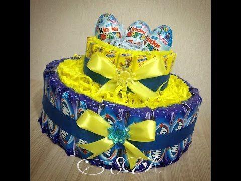 Торт из конфет Milky Way (Милки вей) и Nesquik (Несквик). - YouTube