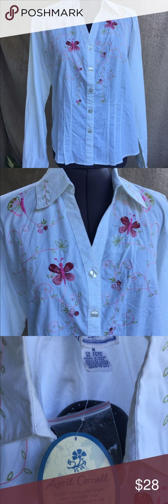 April cornel blouse New w/ tags attached, April cornel embroidered cotton blouse, beautiful spring design w/ flowers & butterflies, size med. april cornell Tops Blouses