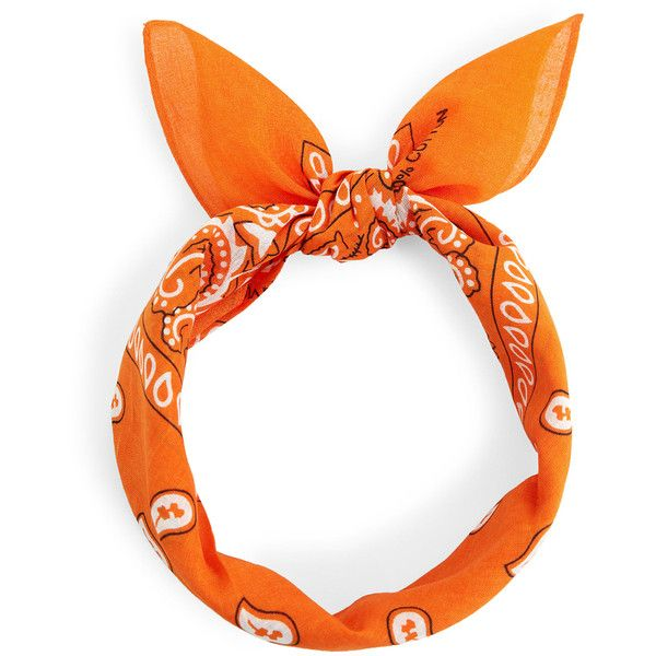 SheIn(sheinside) Paisley Print Bandana ($4) ❤ liked on Polyvore featuring accessories, scarves, orange, patterned scarves, orange shawl, bandana scarves, paisley pattern bandana and paisley scarves