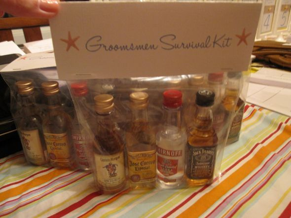 Groomsmen survival kit! I may give one out before the ceremony and the rest AFTER SPEECHES!!!