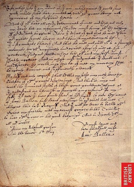 Said to be a copy of the last letter Anne wrote to Henry VIII