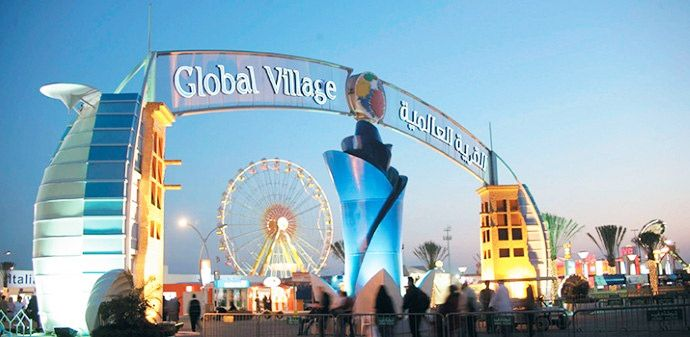 Global Village offers various dining options, entertainment, shopping, and thrilling rides for children at the Fantasy Island.
