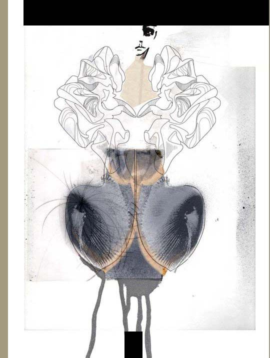 really like theses illustrations created by  dasha selyanova and maureen campbell  of various iris van herpen couture pieces,  for slashstroke magazine.
