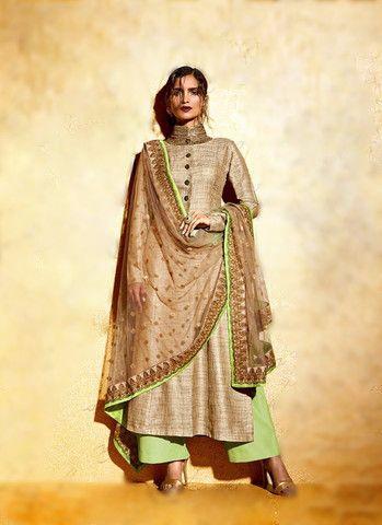Beige & Pista Green Salwar kameez in Khadi
