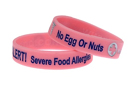 Food Allergy Bracelets for Children. My son wears two of them and receives lots of comments about them. They last for around a year before fading if worn every day.