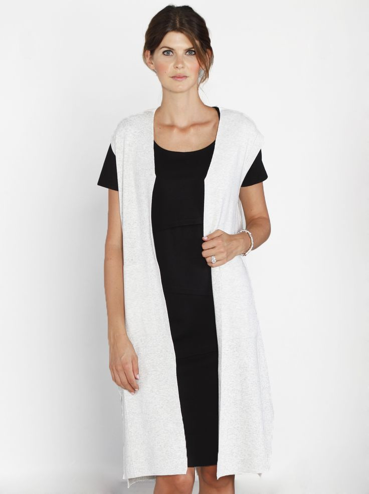 Luxe Sleeveless Long Knitted Vest in Off White, $79.95, is an investment for life!  Wear it from the moment you are pregnant and for years after.