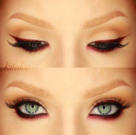 Rihanna 2009 AMA - Red Eyeliner Inspired Look #celebritybeauty #redliner #eyemaekup - bellashoot.com & bellashoot iPhone & iPad