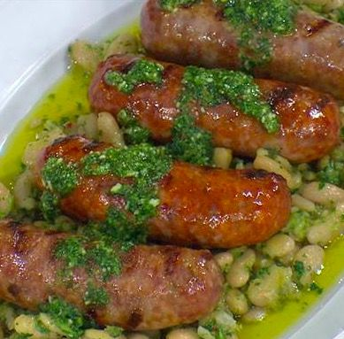 Great Grilled Sausages with Broccoli Rabe Pesto Made from Leftover Bean Soup with Rose - Recipes, Italian, Pork, Main Dish, Quick, Easy