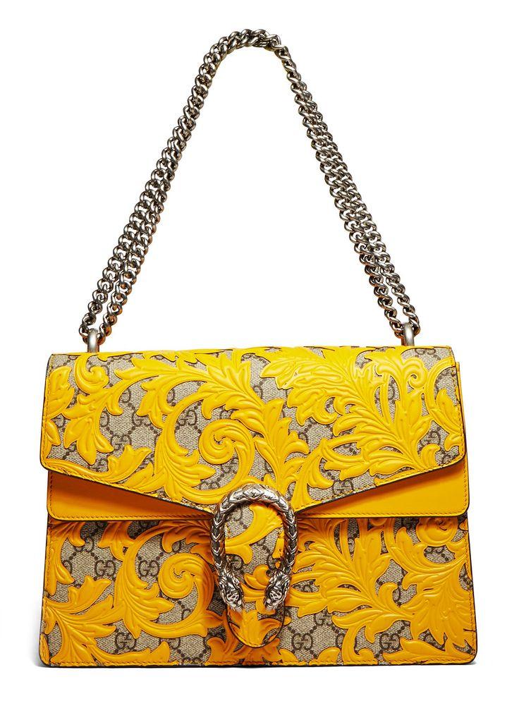 GUCCI Women'S Dionysus Arabesque Shoulder Bag In Mustard Yellow.
