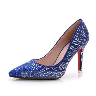 Suede Stiletto Heel Pumps Closed Toe met Strass schoenen (085062910)